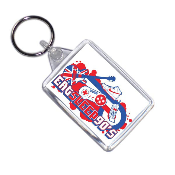 Eat Sleep 90's Retro Style Key Ring