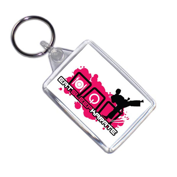 Eat Sleep Karate Sports Themed Keyring
