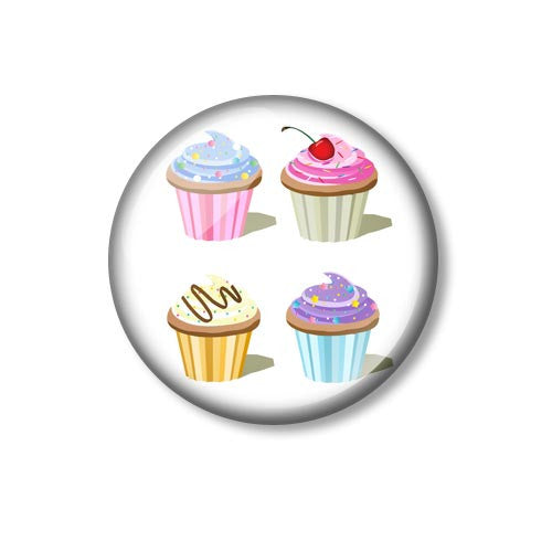 Four Cupcakes Design 25mm Pin Backed Button Badge