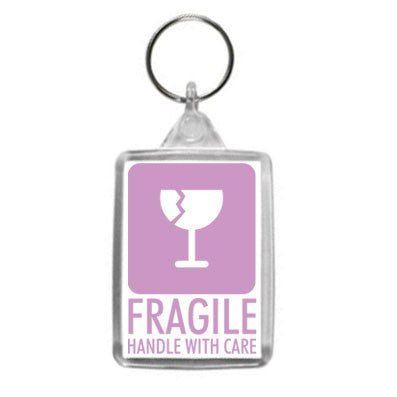 Fragile Handle With Care Hazzard Label Design Key Ring