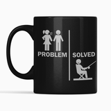 Fun Problem Solved Nagged Man Fishing Black Mug Gift