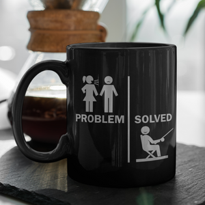 Fun Problem Solved Fishing Mug Gift Black