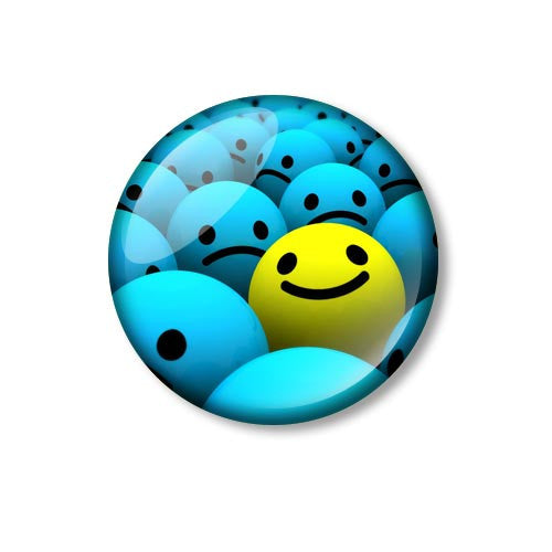 Fun Yellow Smiley Sad Blue Smiley 25mm Pin Backed Button Badge
