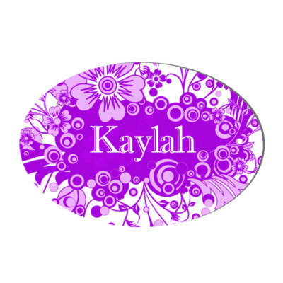 Funky Floral Design Girls Personalised Door Plaque