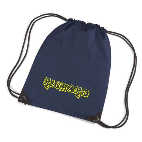 Graffiti Style Print Personalised Drawstring Gym Bag