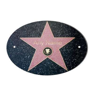 Hollywood Star Personalised Door Name Plaque