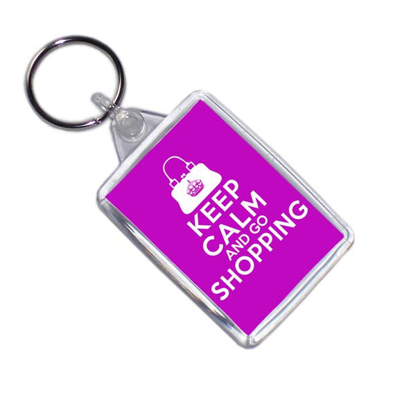 Keep Calm And Go Shopping Keyring