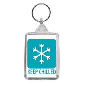 Keep Chilled Hazzard Label Design Key Ring