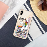 Unicorn Farting Fun Yoga Design Liquid Glitter iPhone Case