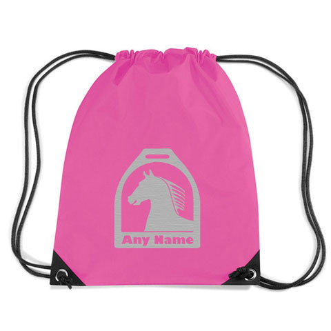 Personalised Horse and Stirrup Motif Gym Bag