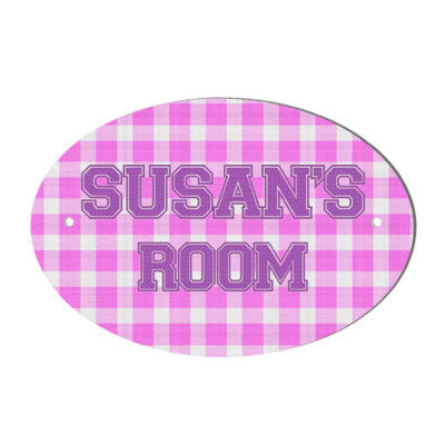 Pink Gingham design personalised door name plaque