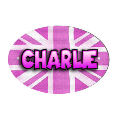 Pink Union Jack Design Personalised Door name Plaque