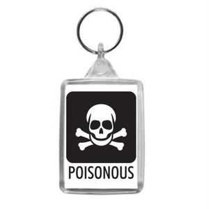 Skull and Crossbones Poisonous Hazzard Label Design Key Ring