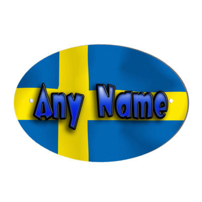 Swedish Flag Design Personalised Door name Plaque