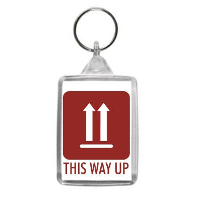 This Way Up Hazzard Label Design Key Ring