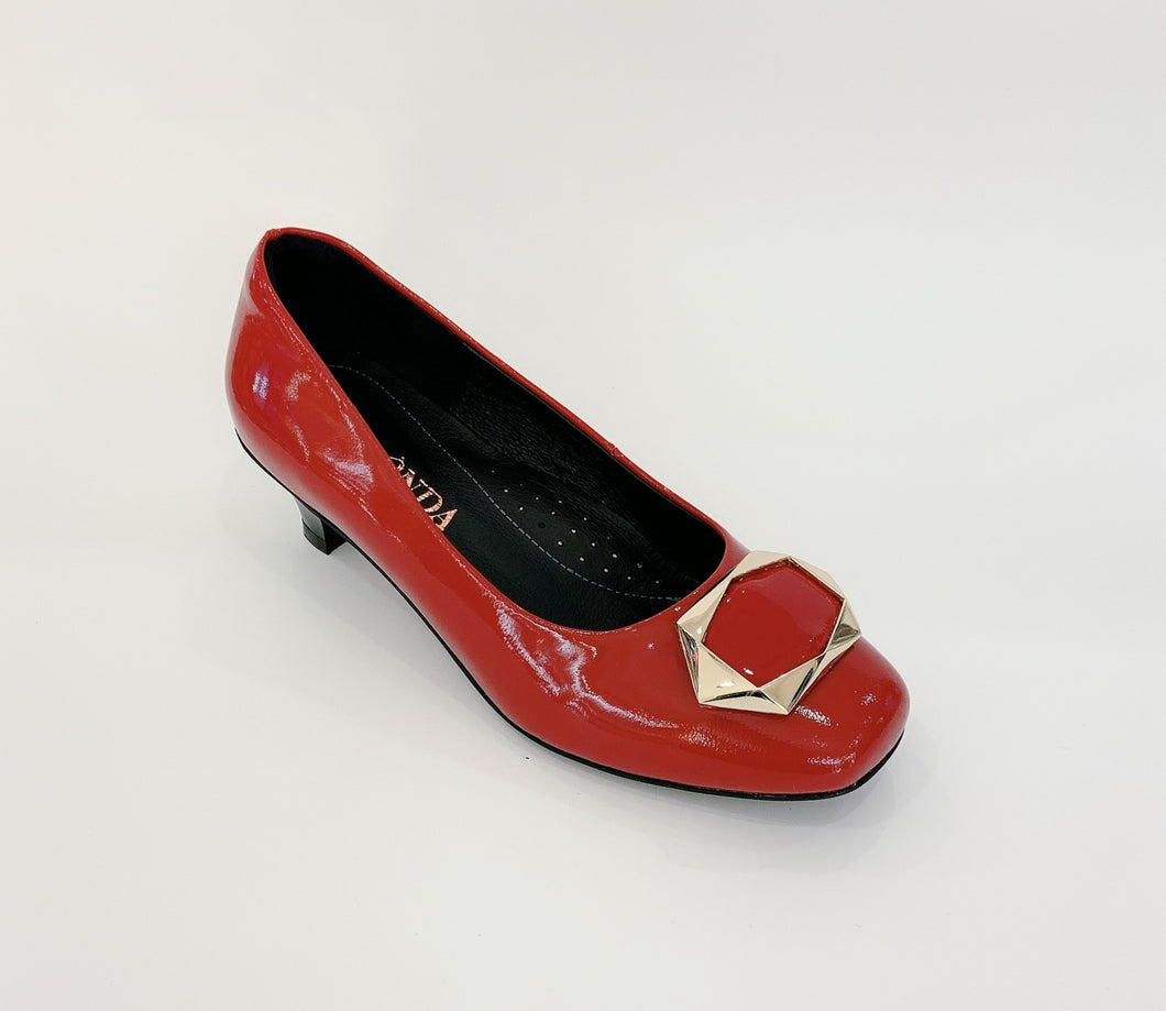 Women's Red Patent Leather Low Heel Shoes