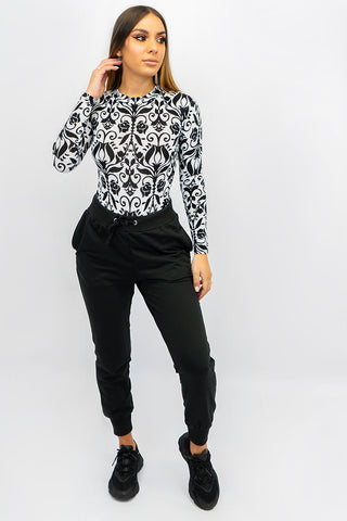 Floral Long Sleeve Round Neck Bodysuit