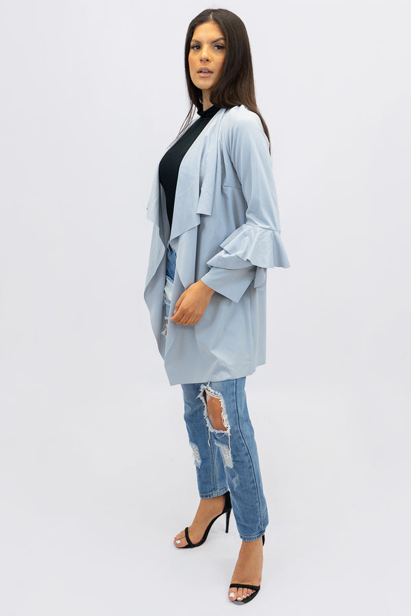 Midi Frill Sleeve Duster Jacket
