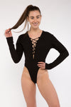 Grommet Lace Up Bodysuit