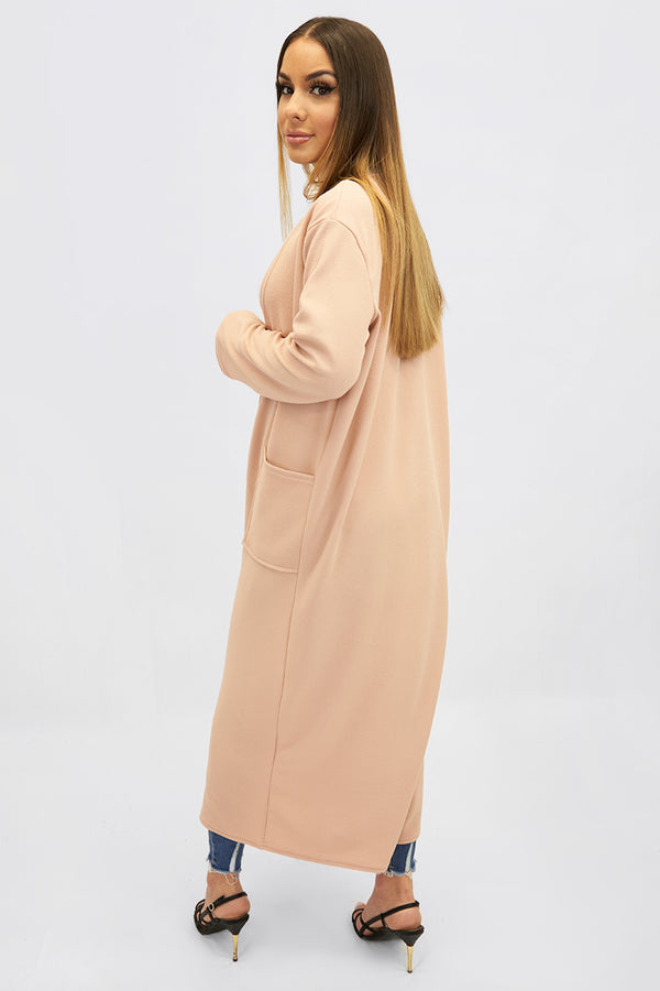 Peach longline duster coat with pockets