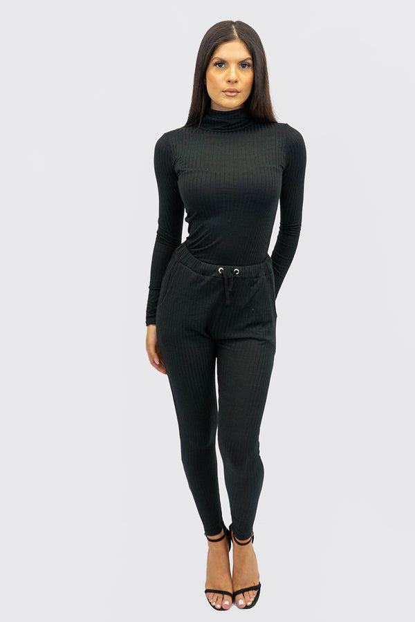 Rib Roll Neck Top And Legging Set