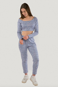 Tie dye cropped hooded loungewear set