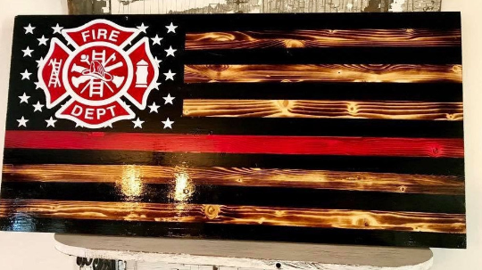 Red Line Fire Fighter Flag