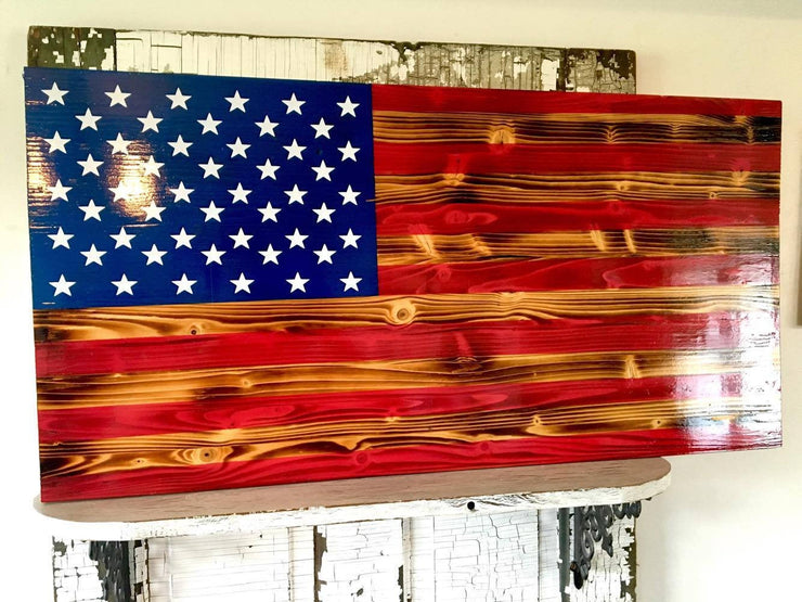 Burnt Wood USA Flag