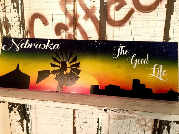 Nebraska Good Life Sunset Sign