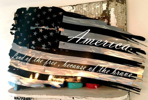 Black & Silver Tattered USA Flag