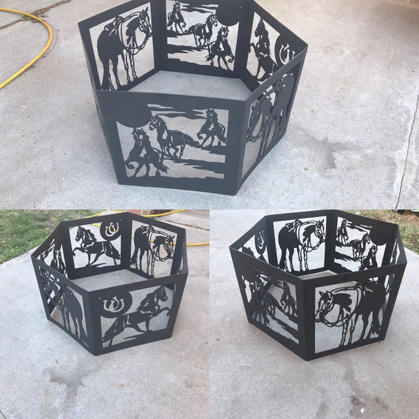 Custom Personalized Hexagon Fire Ring - Mills Farm Nebraska