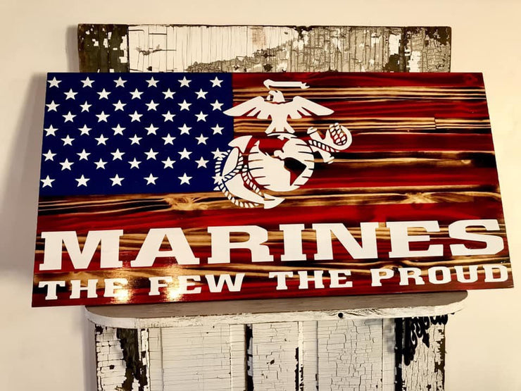 USA Marine Wood American Flag