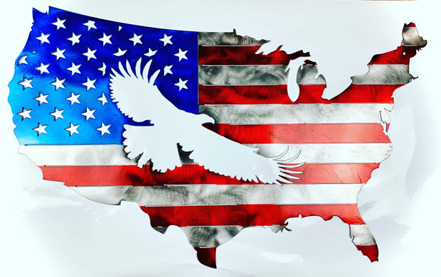 Metal American Eagle Flag