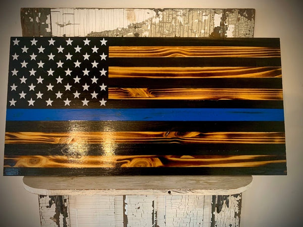 Wood USA Blue Line American Flag - Mills Farm Nebraska