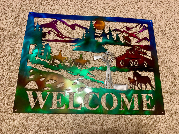 Mountain Scene Welcome  Sign