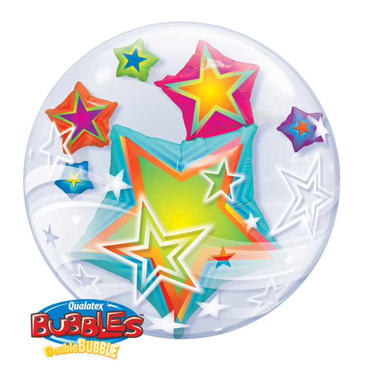 Multi Coloured Stars 24 inch Double Bubble