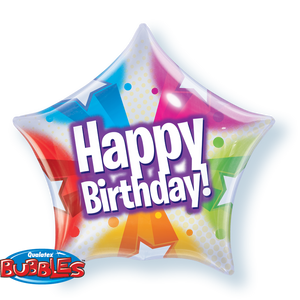 Birthday Stars & Dots Pattern 22 inch Star Bubble