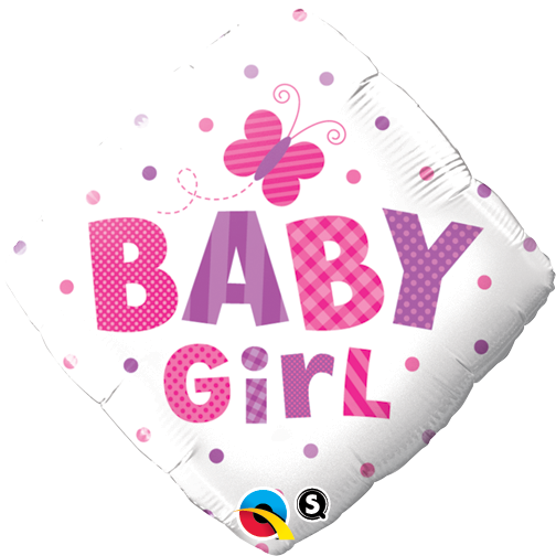 Baby Girl Dots & Butterfly 18 inch Diamond Foil