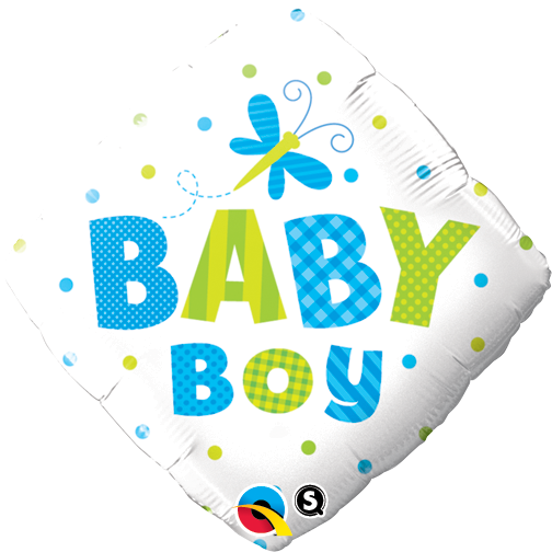 Baby Boy Dots & Dragonfly 18 inch Diamond Foil