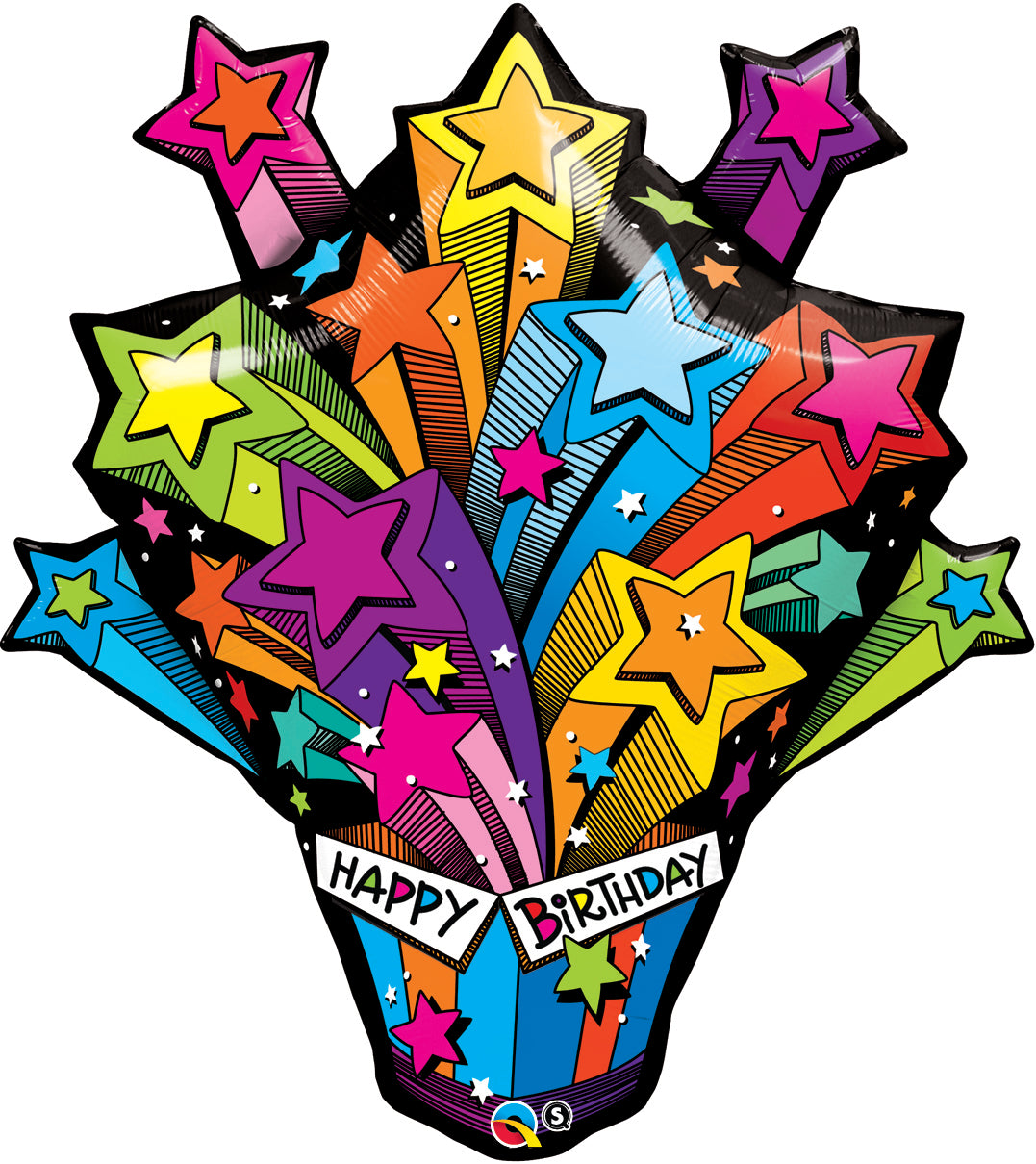 Shooting Stars Birthday Present 35 inch Shaped Foil