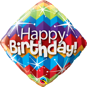 Birthday Zig Zags & Starburst 18 inch Diamond Foil