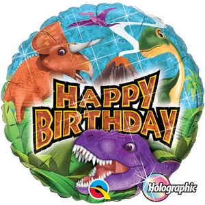 Birthday Dinosaurs 18 inch Round Holographic Foil