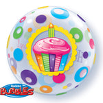 Birthday Cupcake & Dots 22 inch Bubble