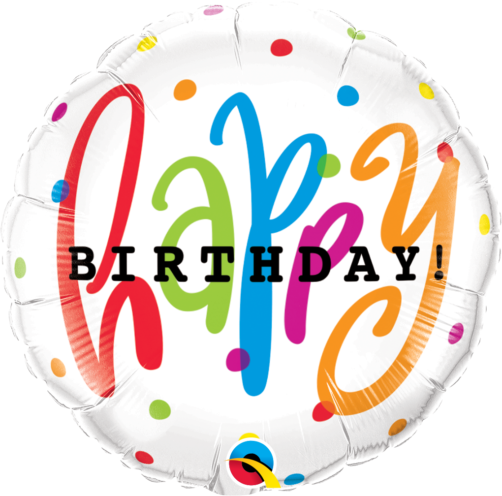 Happy Birthday Dots 18 inch Round Foil