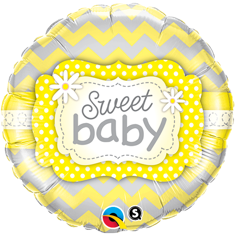 Sweet Baby Yellow Patterns 18 inch Round Foil