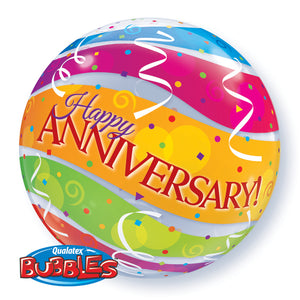 Anniversary Colourful Bands 22 inch Bubble