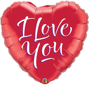 I Love You Modern Script 36 inch Heart Foil
