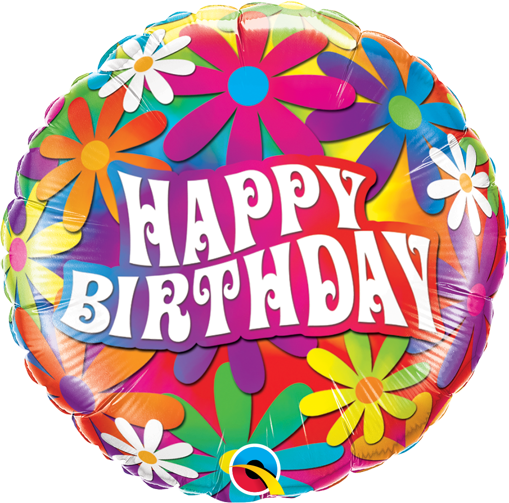Birthday Psychedelic Daisies 18 inch Round Foil