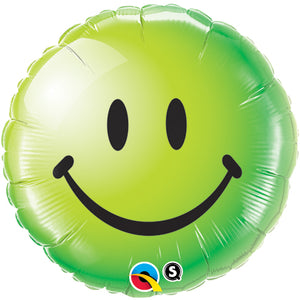 Smiley Face Green 18 inch Round Foil