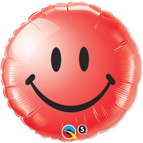 Smiley Face Red 18 inch Round Foil